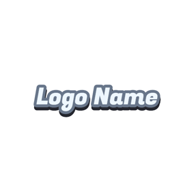 Simple Gray Outlined Wordart logo design