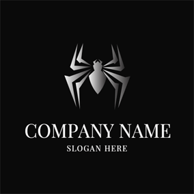 Simple Gray Spider Icon logo design