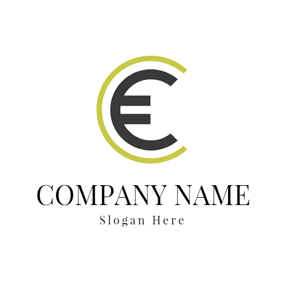 Simple Green and Black Euro Symbol logo design