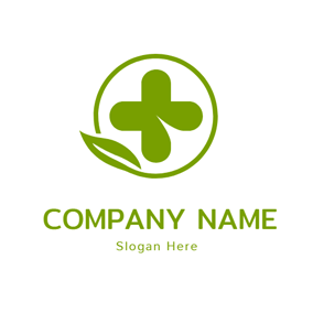 Simple Green Circle and Plus logo design