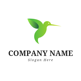 Simple Green Hummingbird logo design
