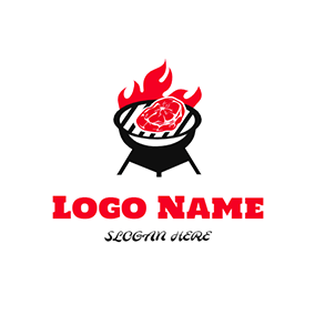 Simple Grill Meat Flame Bbq logo design