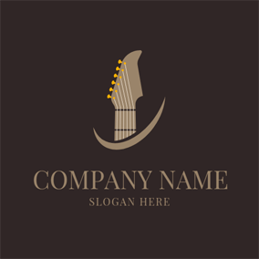 Simple Guitar and Curved Shape logo design