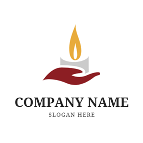 Simple Hand and Candle logo design