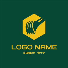Simple Hexagon and Bucket logo design
