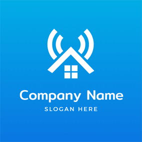 Simple House and Wifi logo design