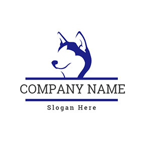 Simple Husky Profile logo design