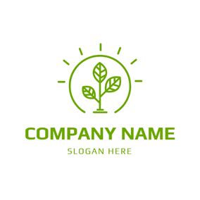 Simple Lamp and Organic Tree logo design