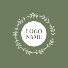 Simple Leaf Circle and Name logo design