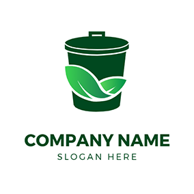 Simple Leaves and Trash Bin logo design