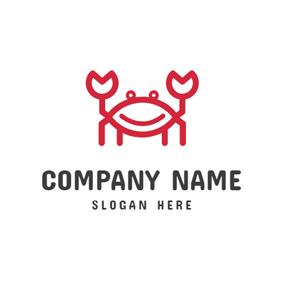 Simple Lines Cartoon Crab logo design
