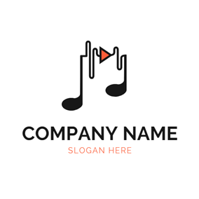 Simple Note and Audio logo design