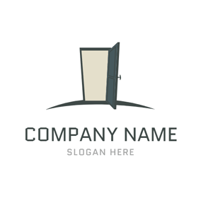 Simple Opened Door and Doorframe logo design