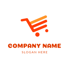 Simple Orange and Red Cart logo design