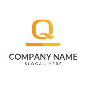 Simple Orange Letter Q logo design