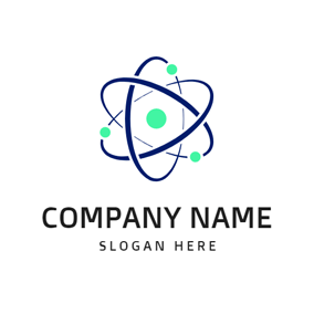 Simple Orbit and Green Atom logo design