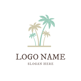 Simple Palm Tree Icon logo design