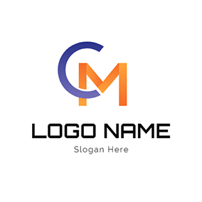 Simple Paper Folding Letter C M logo design