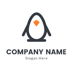 Simple Penguin Cartoon Outline logo design