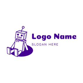 Simple Purple Robot Icon logo design