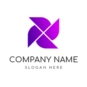 Simple Purple Windmill logo design