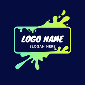 Simple Rectangle and Slime logo design