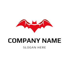 Simple Red Bat Icon logo design