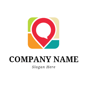 Simple Red Location Icon logo design