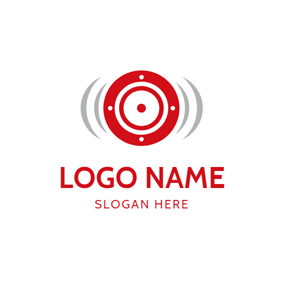 Simple Red Speaker logo design
