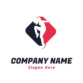 Simple Rhombus Dancing Woman logo design
