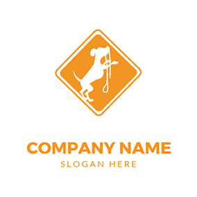 Simple Rhombus Dog Walking logo design