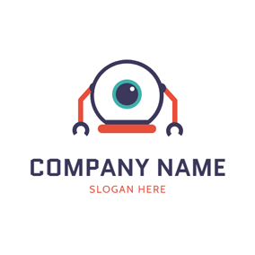 Simple Robot Eye Icon logo design