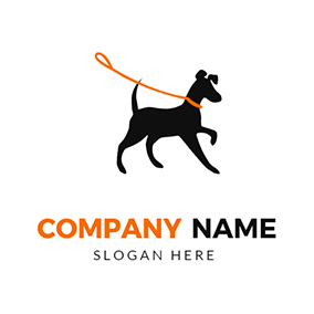 Simple Rope and Lively Dog logo design