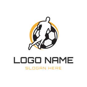 Simple Running Player and Football logo design