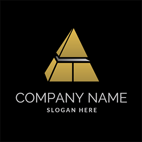 Simple Separate Yellow Grid Pyramid logo design