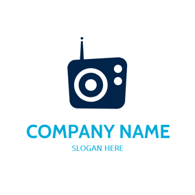 Simple Shape and Blue Radio logo design