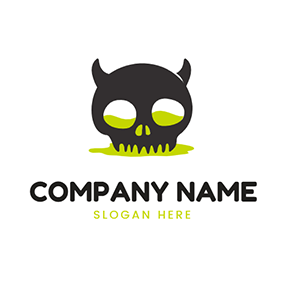Simple Skull and Devil logo design