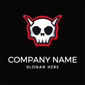 Simple Skull Horn Satan logo design