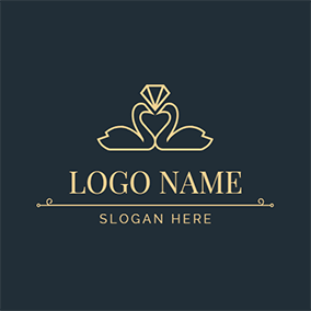 Simple Swan Diamond and Wedding logo design