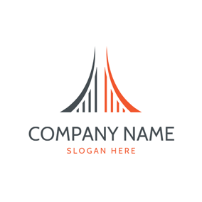 Simple Symmetrical Bridge logo design