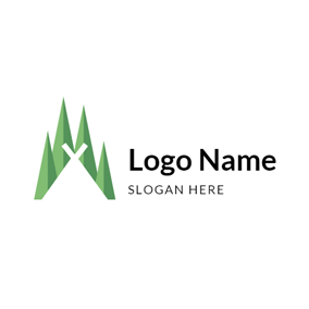 Simple Tree and Tent logo design