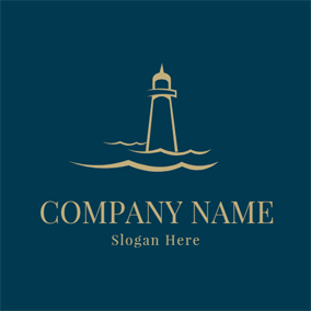 Black Circle And Lighthouse · Simple Wave And Lighthouse Logo Design
