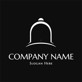 Simple White and Black Bell logo design
