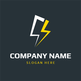 Simple White and Yellow Lightning logo design
