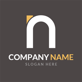 Simple White Letter N logo design