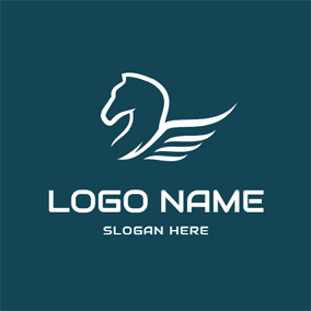 Simple White Pegasus Icon logo design