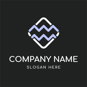 Simple White Square and Aquarius Sign logo design