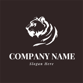 Simple White Tiger Icon logo design