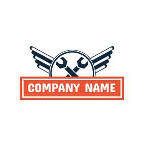 Simple Wings and Crossed Spanner logo design