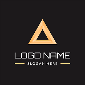 Simple Yellow Hollow Pyramid logo design